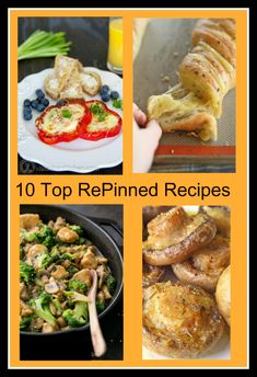 10 Top repinned recipes from Pinterest. From Oreo Layer Dessert, Mini Apple Pies, Pepperoni Pizza Bread, Roasted Mushrooms with Garlic & Thyme,  Chicken Broccoli and Mushroom Stir Fry, Bell Pepper Egg-in-a-hole, Homemade Snickers Bars, Chicken and Bacon Pasta with Spinach and Tomatoes in Garlic Cream Sauce, Hasselback Garlic Cheesey Bread, to Cinnamon Roll Pancakes.