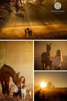 horse photography of equestrian with her beautiful horse and dog at sunrise photoshoot | Tracey Buyce Photography