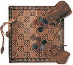 Mulholland Chess & Checker Board Set Leather❤️