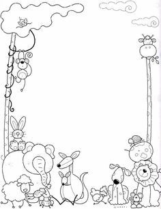 Marcos Infantiles Para Colorear - AZ Dibujos para colorear Colouring Pages, Free Coloring, Coloring Sheets, Adult Coloring, Coloring Books, Borders For Paper, Borders And Frames, Kindergarten Portfolio, Boarder Designs