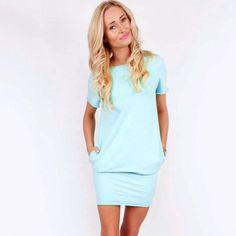 Fashion Ladies Women Casual O-Neck Short Sleeve Solid Stretch Pencil Pocket Dress