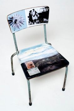 Evolution chair by Amanda du Plessis and Elizabeth Pulles. Recycling old school chairs while uplifting school equipment My Furniture, Recycled Furniture, Painted Furniture, Furniture Design, South African Flowers, Safari Home Decor, South African Homes, School Chairs, Turbulence Deco