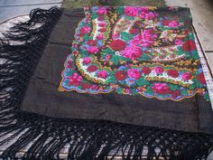 Soviet Floral russian scarf Romanian Wool shawl Vintage Bright huge  old shawl Gift With the tag Made in Japan Exclusive 100% Virgin wool by RussianshawlMayya on Etsy