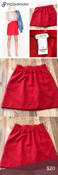 """J.Crew Red Wool Skirt J.Crew Bright Candy Apple Red High Waisted Wool Skirt. Fully lined with pockets.   Brand New, Never Worn! Flawless condition!  Size 00  Length 18.25"""" Waist 12"""" - 15""""  Waist provides stretch. J. Crew Skirts Mini"""