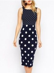 Polka Dot Excellent Square Neck Bodycon-dress