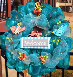 Blue Spring Mesh Wreath $55
