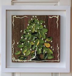 Mini Holiday Collection – #330 Holiday Wreath Size – 12″ x 12″ Wood Frame – DESCRIPTION: Our Mini Collection!  This is the perfect gift giving size. Great for wedding gifts, birthday, housewarming gift. Very pretty when hung in a group. Very fun to decorate with!