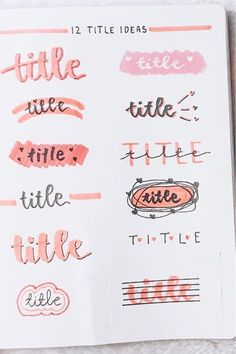 Looking for the perfect header / title to start off your pink themed bullet journal spreads? Check out these super fun header inspiration spreads to get ideas from! Bullet Journal School, Bullet Journal Paper, Bullet Journal Headers, Bullet Journal Lettering Ideas, Journal Fonts, Bullet Journal Notebook, Bullet Journal Ideas Pages, Bullet Journal Inspiration, Journal Pages