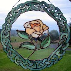 Stained Glass Patterns~ Stained Glass Pattern Group Rose with Celtic knots surrounding....