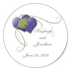Purple Hearts Green Swirls Save The Date Stickers