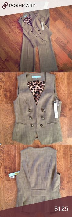 Awesome Antonio Melani suit gorgeous vest/pant suit by Antonio Melani. New with tags! dusty brown polyester/viscose fabric, great button detailing on vest and slightly flared pant legs. ANTONIO MELANI Pants Trousers
