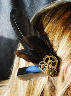 NEW FOR SPRING Steampunk Traveler's Hair Fascinator with Cruelty-Free Feathers. $22.00, via Etsy.