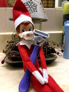 """62 Funny Ideas for Elf On the Shelf Make the elf get all wrapped up in wrapping paper. Set up a power-lifting elf with some marshmallows and a toothpick. A great way to use Littlest Pet Shop or other puppy toys is to make the elf """"walk"""" them with a string or pipe cleaners for …"""
