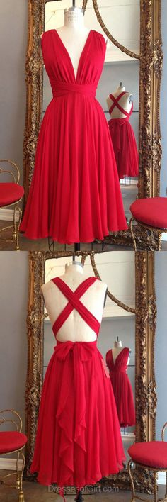 Red Homecoming Dresses, Backless Prom Dresses, V-neck Party Gowns, Sexy Cocktail Dress, Casual Summer Dresses
