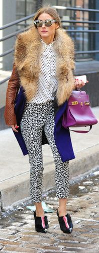 Olivia is the master of mixing high and low fashion. These pants are actually from Banana Republic. Source: Startraks Photo
