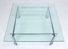 Large 42x42 Square Mid Century Modern Crome & Glass Coffee table. | From a unique collection of antique and modern coffee and cocktail tables at http://www.1stdibs.com/furniture/tables/coffee-tables-cocktail-tables/