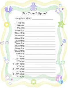 "Free Printable Baby Book Page, ""My Growth Record"""
