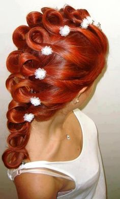 bright red hair, cool braid updo