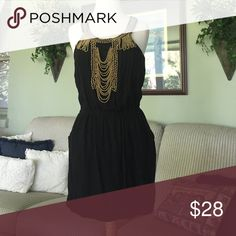 Beaded Black Boutique Dress Comfy dress with pockets Solemio Dresses Mini