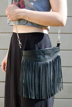 DIY Bag & Tote : DIY Fringed Leather Bag