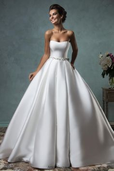 Amelia Sposa 2016 Strapless Wedding Dresses Satin Ball Gown Bridal Gowns with Beaded Sash and Chapel Train and Bow Back