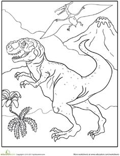 Worksheets: Color the Fierce Tyrannosaurus Rex