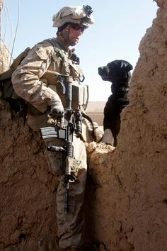 U.S. Marine Corps Cpl. Cody Richael traverses a wall with a military working dog beside him in the Sangin district of Helmand province, Afghanistan