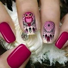 Tener un buen sueño con estas uñas Dreamcatcher Nails For Kids, Girls Nails, Owl Nails, Pink Nails, Owl Nail Art, Owl Nail Designs, Cute Nails, Pretty Nails, Indian Nails