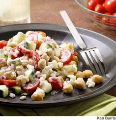 Chickpea Salad - Feta cheese and chickpeas lend a Mediterranean flair to this satisfying side salad. The creamy dill ranch dressing is great with it, but the salad would also be good with a tangy vinaigrette.