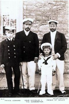 Fathers, cousins, sons.  Nicholas (2nd from left) and Alexei (3rd from left) visiting their British cousins, King George V and his son Prince Edward, later King Edward VIII.  Nicholas and George were 1st cousins--their mothers were sisters--and but looked more like twin brothers.