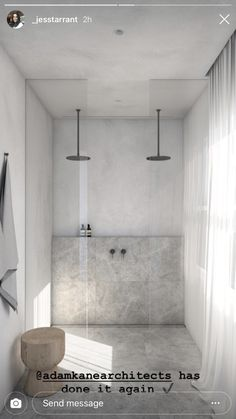 Like the stone and natural spa like look Bathroom Design Luxury, Modern Bathroom, Chic Bathrooms, Contemporary Bathrooms, Laundry Room Inspiration, Bathroom Design Inspiration, Laundry In Bathroom, Bathroom Renos, Bathroom Vanities