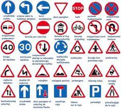 English vocabulary - bike ed road signs English Tips, English Study, English Words, English Lessons, English Grammar, Learn English, Learn French, English English, French Lessons