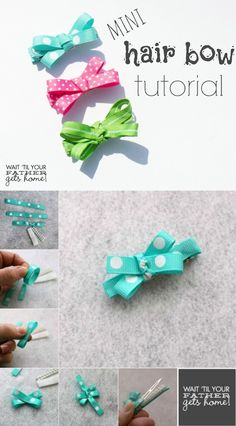 Tutorial Mini Hair Bow Tutorial- A super cute {not to mention VERY easy} tutorial to make mini hair bows for any little lady in your life. Easy Hair Bows, Making Hair Bows, Girl Hair Bows, Bow Hair Clips, Hair Bows For Babies, Dog Hair Bows, Bow Making, Girls Bows, Hair Ribbons