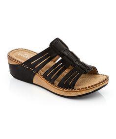 Another great find on #zulily! Lady Godiva Black Cutout Strap Sandal by Lady Godiva #zulilyfinds