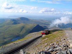 The train up Snowdonia mountain range, North Wales.