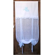 White French Linen Window Curtain Turquoise by HatchedinFrance
