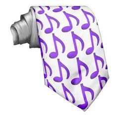 Music Notes Purple Pattern White Custom Tie - Music pattern, repeating purple-blue eighth notes on bright white, #chic necktie perfect for #musicians, #music fans, singers, dancers, deejays, music teachers, students, composers, choreographers, festival attendees, party goers, music lovers of any genre including #jazz music, #blues, hip hop, swing, rhythm and blues, pop music, electronic music, funk, #classical and #contemporary styles.