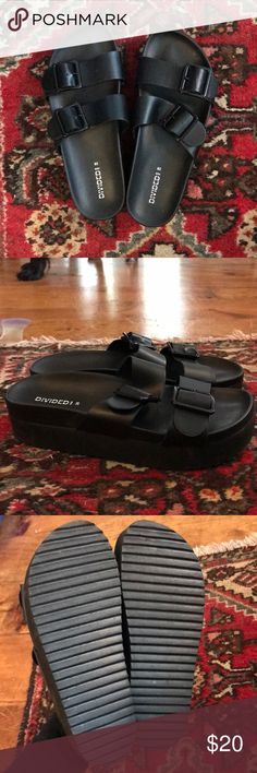 """Birkenstock"" Arizona platforms from H&M Worn once. Super cute with leggings! Tagged Birkenstock for exposure. Birkenstock Shoes Platforms"