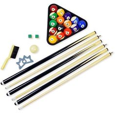 Pool Table Billiard Accessory Kit Racking Triangle 2 Cues Bridge Stick and More #Hathaway