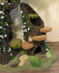 Here is a beautiful cat tree condo that provides your kitties a beautiful place to play and relax. The Enchanted Tree Stump Condo is available in to Crazy Cat Lady, Crazy Cats, Enchanted Tree, Cat Tree House, Diy Cat Tree, Cat Towers, Cat Room, Cat Condo, Pet Furniture