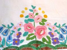 Vintage floral embroidered tablecloth  Wall hanging  by wonderdiva