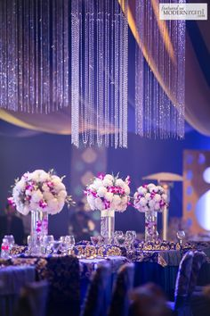 crystal chandeliers and beautiful centerpieces! #purplehues