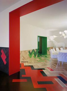Colourful and Oversized Parquet Flooring Inspired by Nature