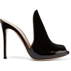 Gianvito Rossi Aramis patent-leather mules ($785) ❤ liked on Polyvore featuring shoes, black, peeptoe shoes, mule shoes, black patent leather shoes, black high heel shoes and peep-toe shoes