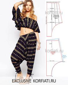 Pantalones Patrón Afghani: – My Pins Page Diy Clothing, Sewing Clothes, Clothing Patterns, Dress Patterns, Fashion Sewing, Diy Fashion, Ideias Fashion, Diy Pantalon, Harem Pants Pattern