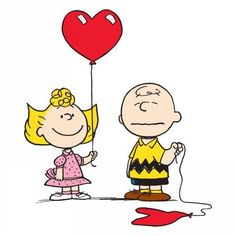 Marmont Hill Sally Heart Balloon Peanuts Print on Canvas, Size: 32 inch x 32 inch, Multicolor