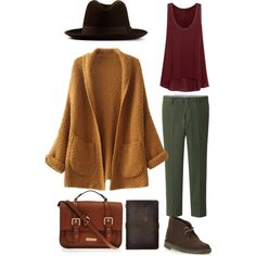 Fall | Burgundy | Green | Clarks | Hat |Oversized Cardigan | Casual outfit | Back to school | Desert Boots |♡seenbyhella on polyvore♡