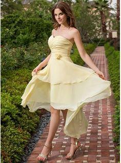 Bridesmaid Dresses - $119.99 - A-Line/Princess Sweetheart Asymmetrical Chiffon Bridesmaid Dress With Ruffle Flower(s)  http://www.dressfirst.com/A-Line-Princess-Sweetheart-Asymmetrical-Chiffon-Bridesmaid-Dress-With-Ruffle-Flower-S-022027107-g27107