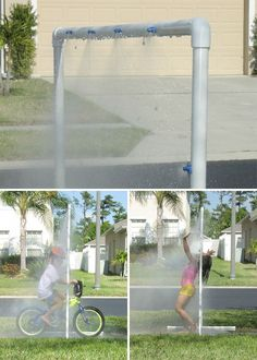 "DIY ""KidWash"" PVC sprinkler = summertime fun"