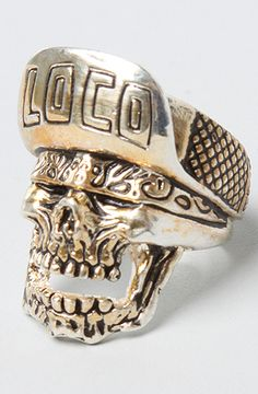 The Loco Skull Ring in Brass Plated Silver by Han Cholo